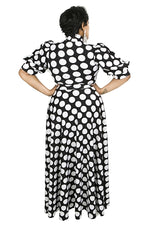 Raven Polka Dot Bow Tie Maxi Dress
