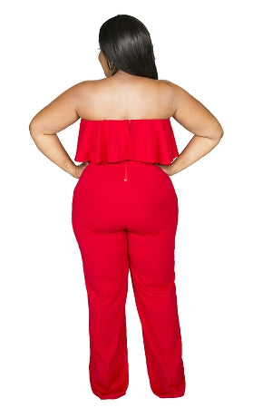 Red Allison Tube Ruffle Jumpsuit