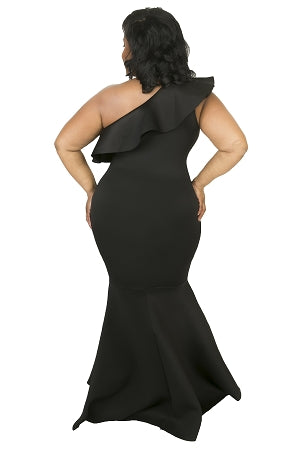 Black Dorinda One Shoulder Gown