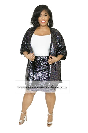 Blue/Purple Sequin Open Duster