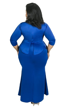 Blue Madelyn Peplum Maxi Dress
