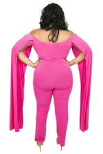 Pink Cape Sleeve Jumpsuit