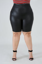 Black Leatherette Shorts