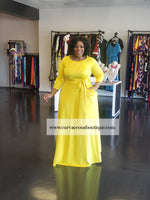 Yellow Emily Belt Gown