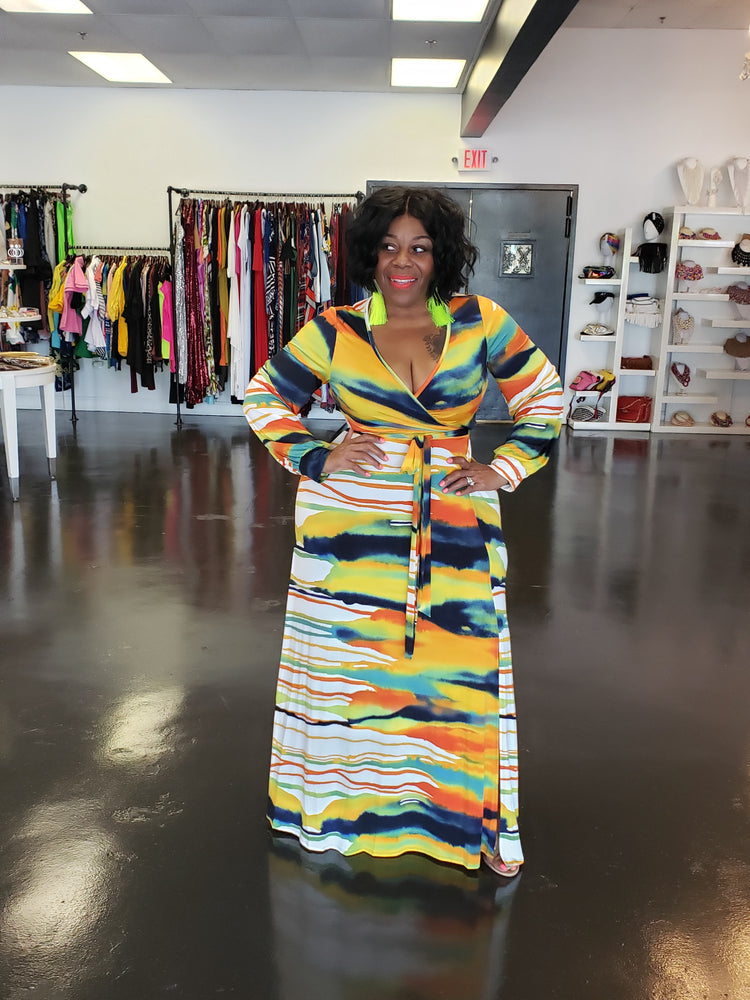 Yellow Water Print Tracey Maxi Dress
