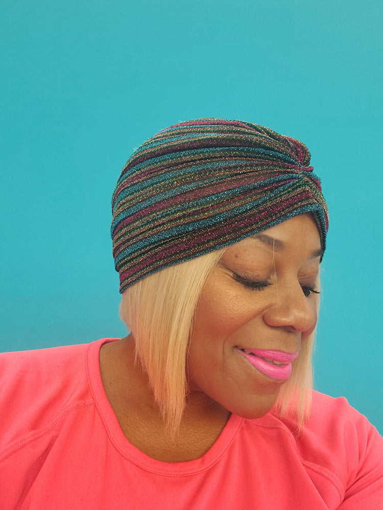Blue Multiple Stripe Turban