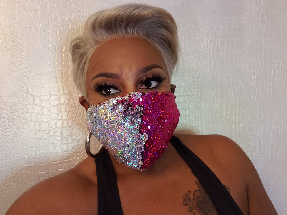 Pink Reversible Sequin Fashion Mask