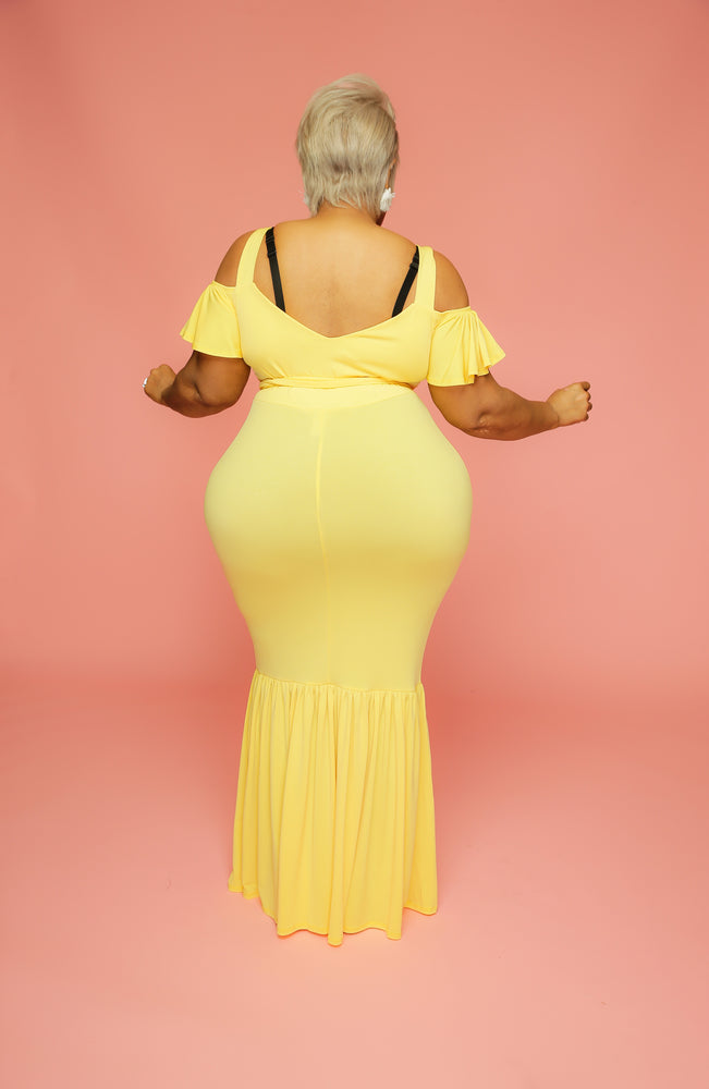 Yellow Alice Gathered Hem Dress