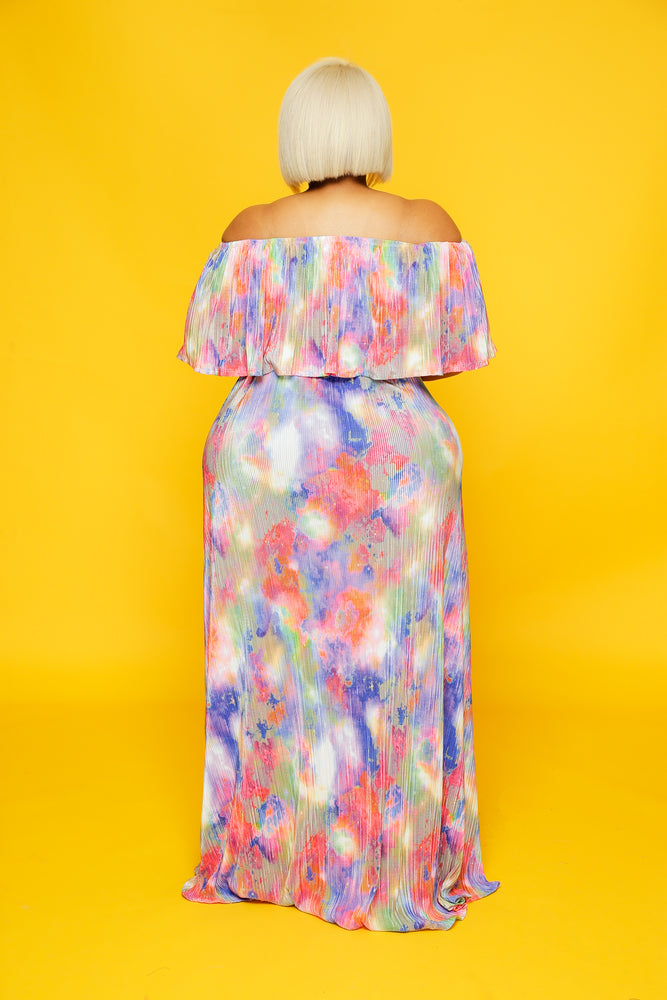 Pleated Colorful Dye Maxi Dress