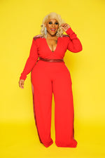 Red Glam Side Jumpsuit