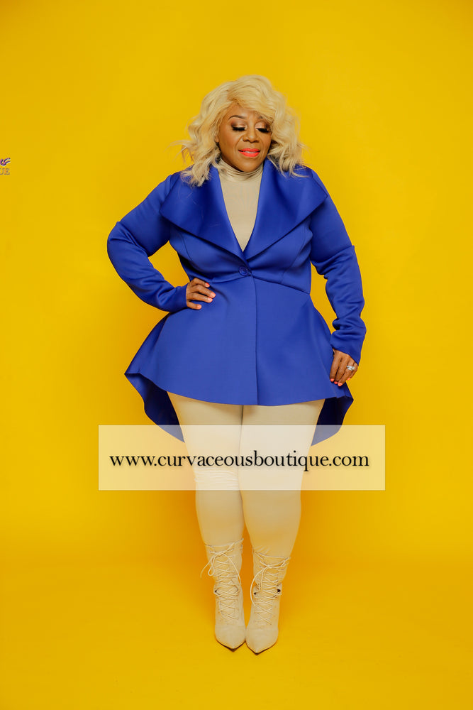 Royal Blue Glam Peplum Jacket