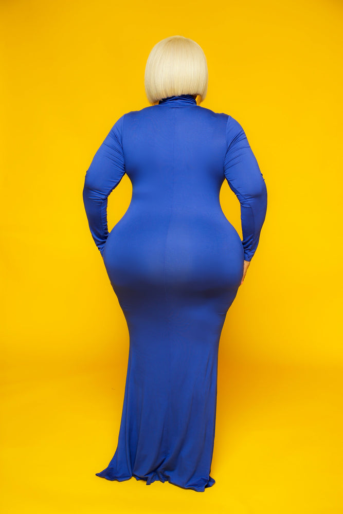 Royal Blue Lala Turtleneck Maxi Dress
