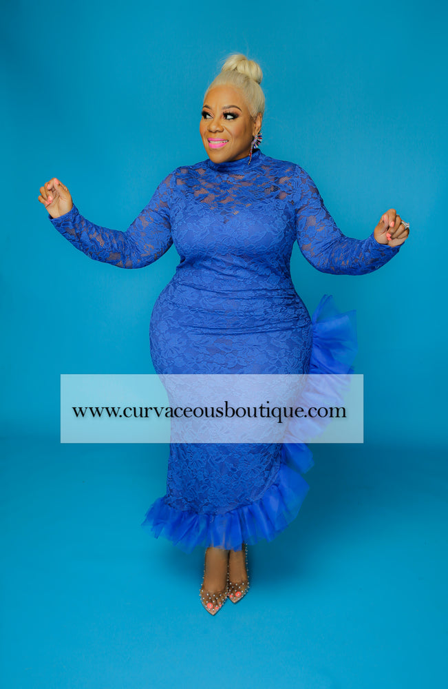 Royal Blue Asymmetric Lace Dress