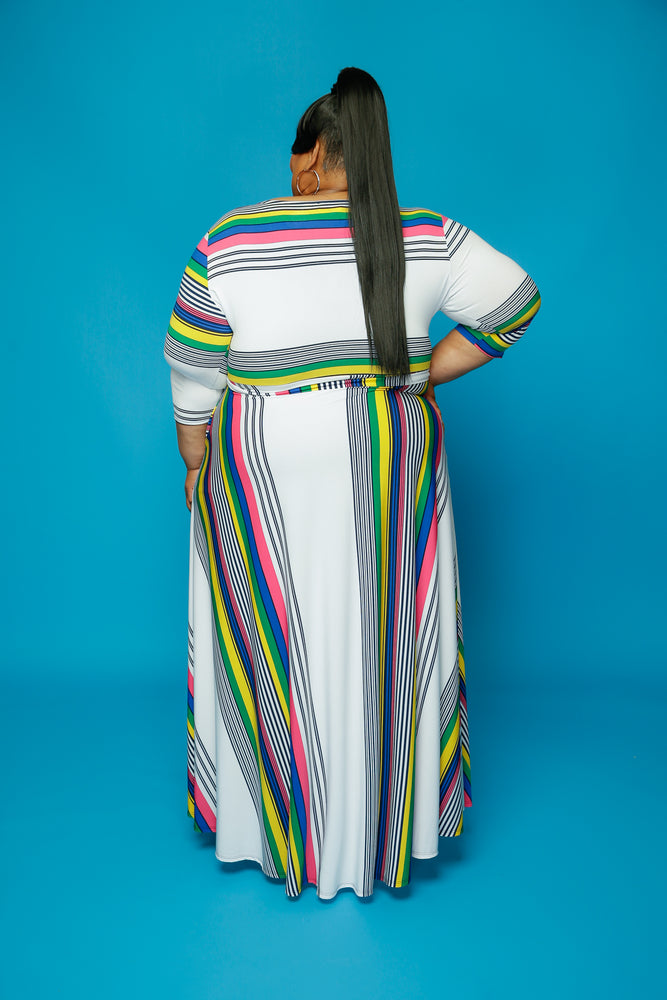 Extended Size Pink Stripe Gabby Dress
