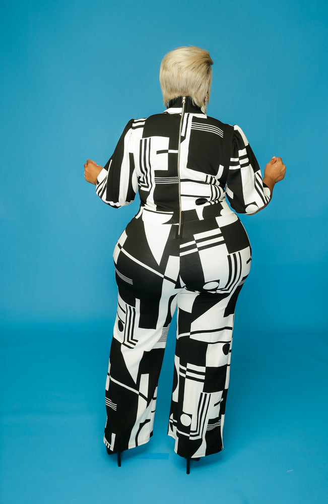 White & Black Abstract Jumpsuit