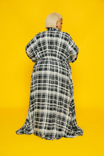 Gray Plaid A-Line Maxi Dress