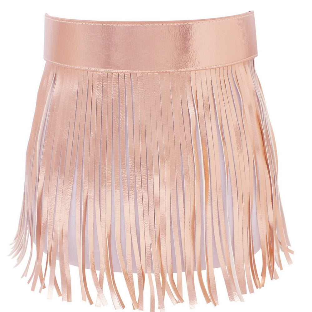 Short Plus Size Rose Gold Fringe Waist Belt