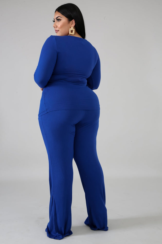 Royal Blue Rhoda Tie Pant Set