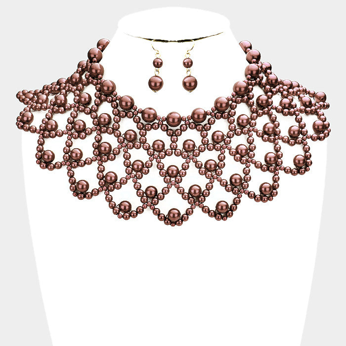 Brown Choker Bib Pearl Necklace Set