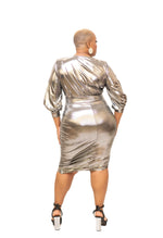 Silver Metallic Drape Dress