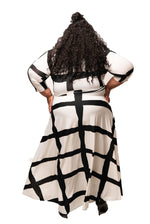 Extended Size White Abstract Gabby Maxi Dress