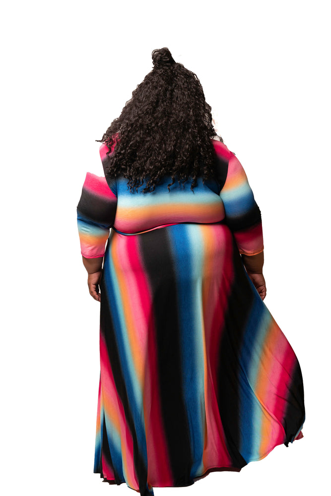 Extended Size Pink Stripe Gabby Maxi Dress