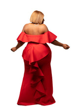 Red Angel Ruffle Rear Gown