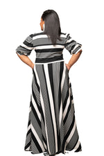 Stripe Tessa Bow Tie Maxi Dress
