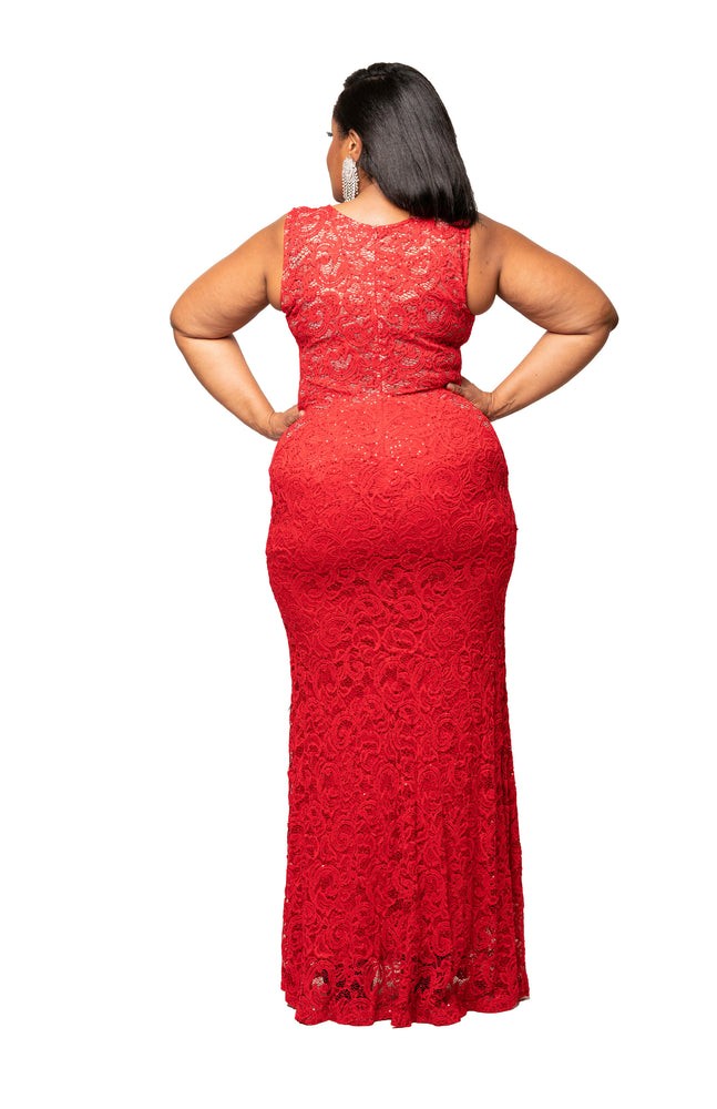 Red Lola Lace Gown