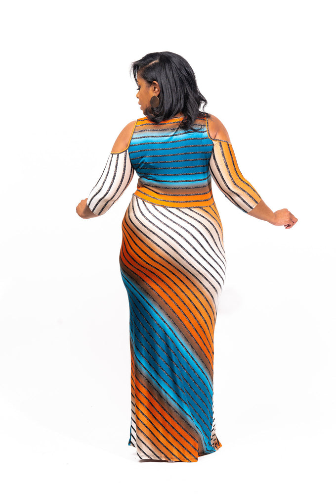 True Teal Stripe Maxi Dress