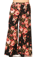 Coral Flower Print Flare Pants