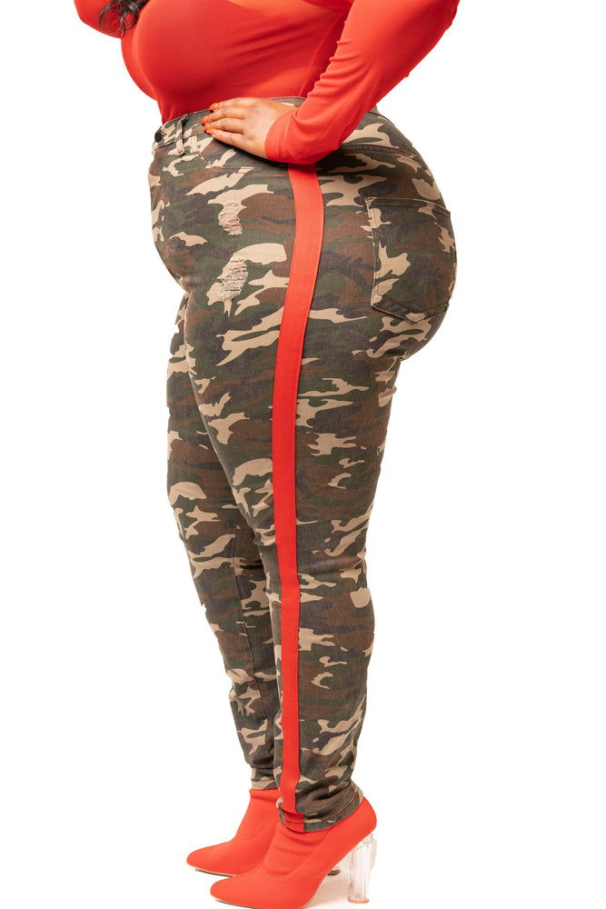 Camouflage Red Stripe Pants
