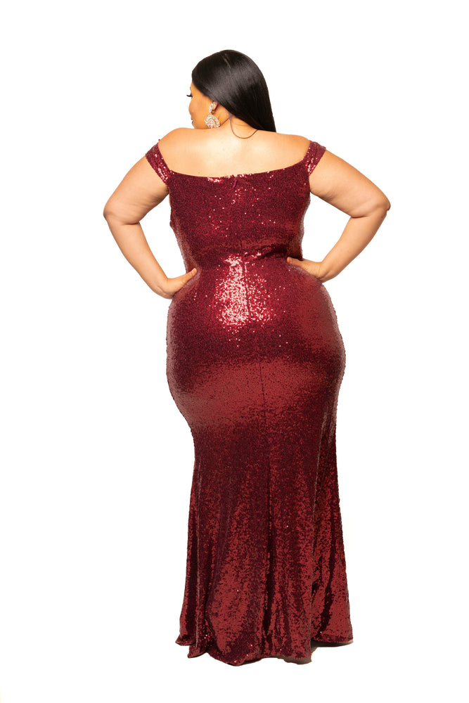 Burgundy Joseline Sequin Gown