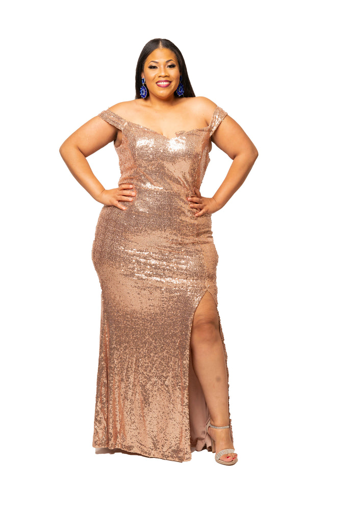 Gold Joseline Sequin Gown