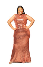Rust Chole Sequin Gown