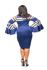 Royal Blue Dana Bell Sleeve Dress