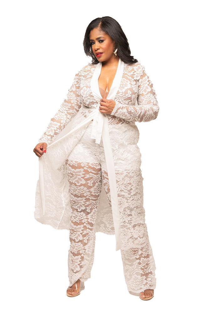 White Jaelynn Lace Duster Set