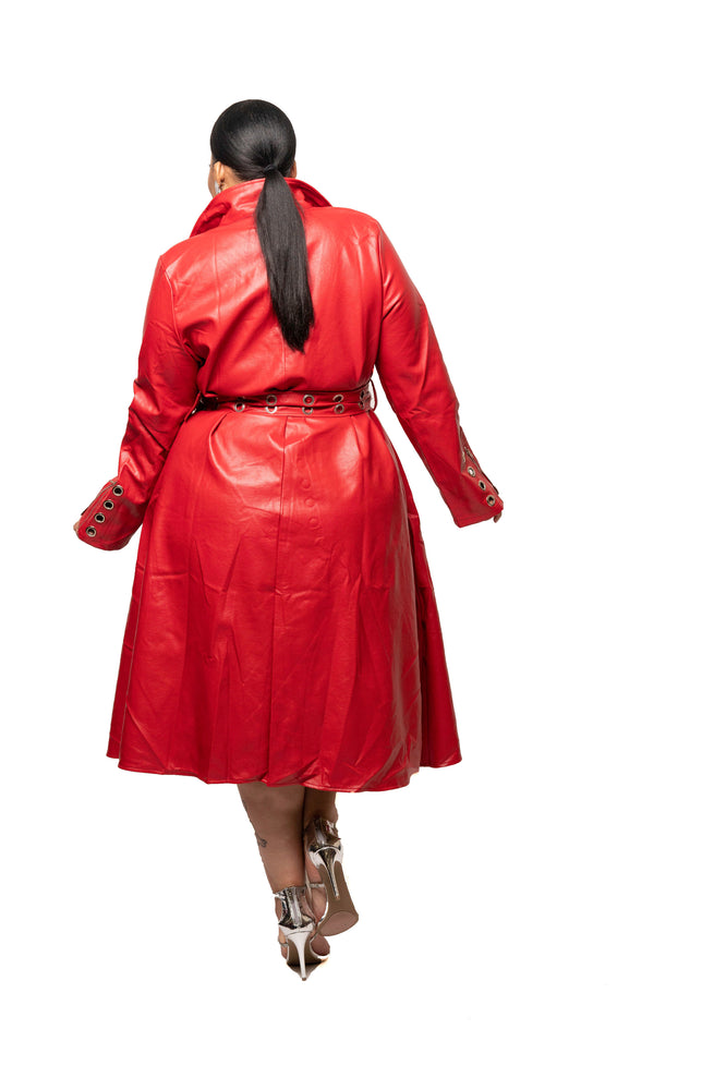 Red Poppy Faux Leather Dress/Jacket