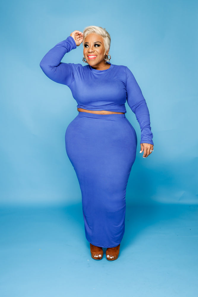 Royal Blue Donnie Maxi Skirt Set