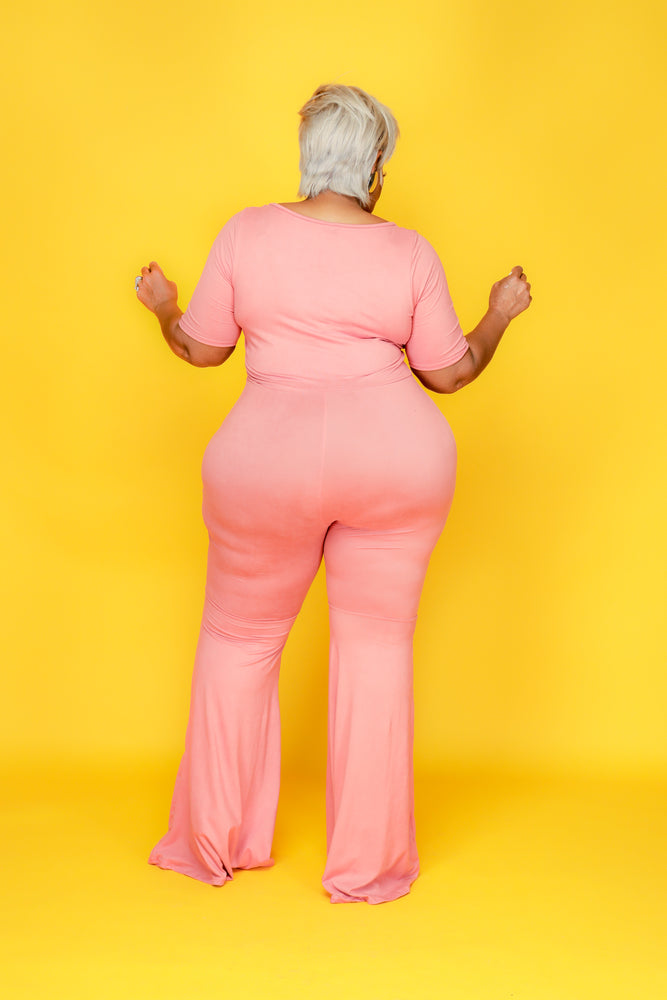 Pink Flare Your Curves Jumpsuit