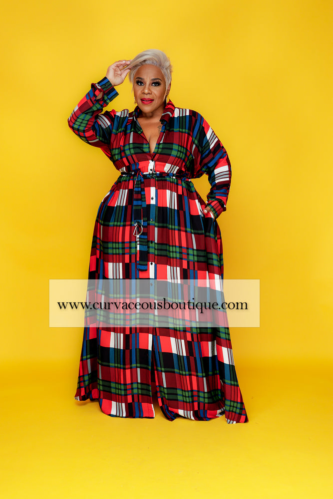 Red Plaid A-Line Maxi Dress