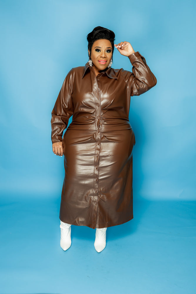 Brown Button Faux Leather Dress