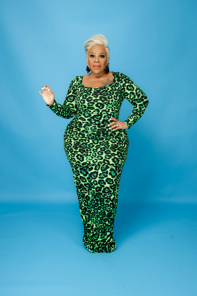 Green Lady Leopard Dress