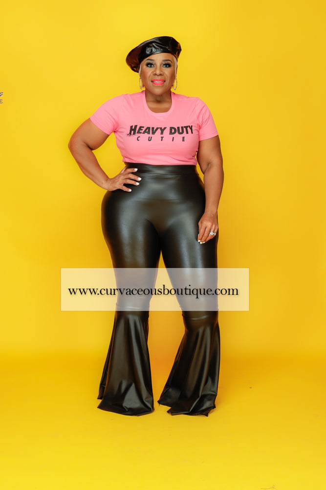 Black Maya Faux Leather Flare Pants