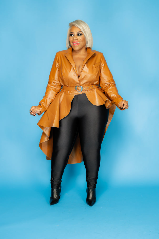 Cognac Leather Hi Lo Peplum Jacket