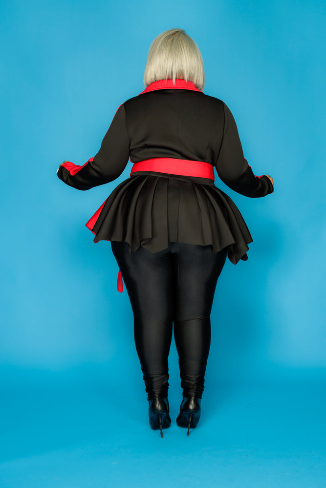 Red & Black Eden Peplum Jacket