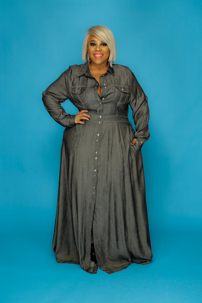 Black Stitched in Curves Denim Dress