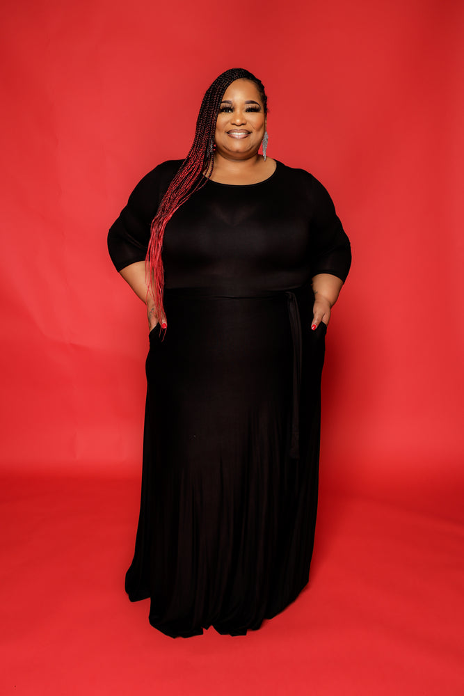 Extended Size Black Gabby Maxi Dress