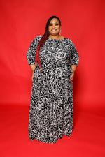 Extended Size Botanical Print Gabby Dress