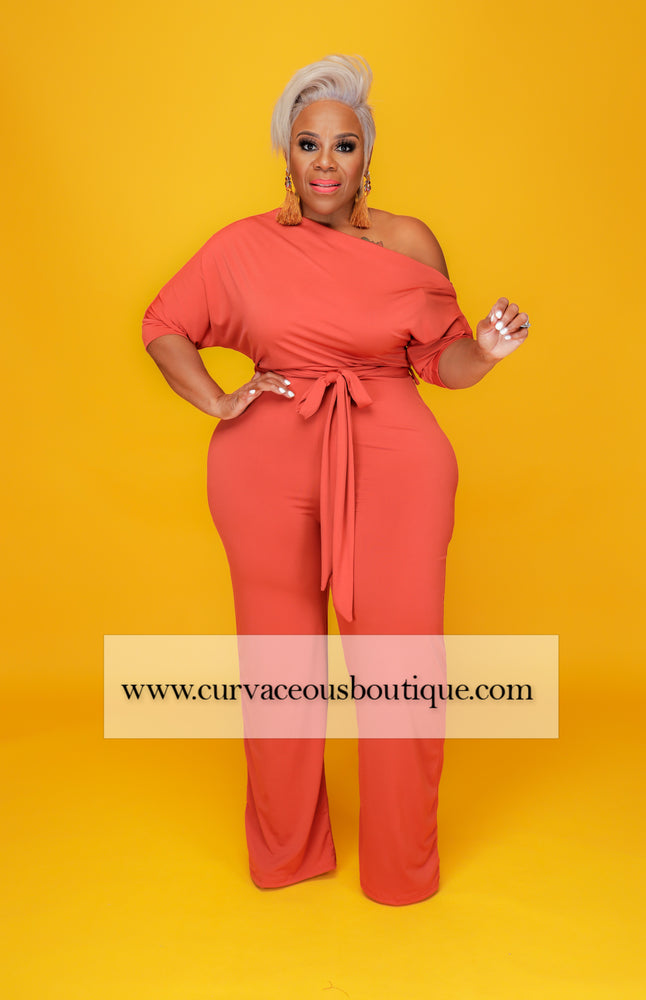 Rust Dolly Off Shoulder Jumpsuit